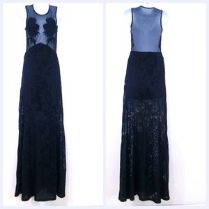 Sky SEXY Sheer top Embroidered Maxi Dress